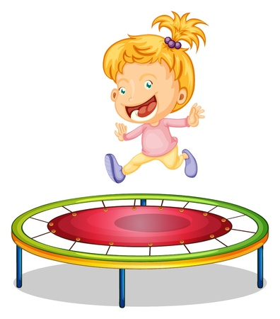 jumps: Illustration of a girl playing trampoline on a white background