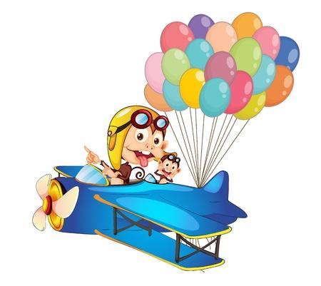 Ilustración de los monos en avión sobre un fondo blanco Ilustración de vector