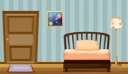 bedroom wall: Illustration of a wooden bed in a room