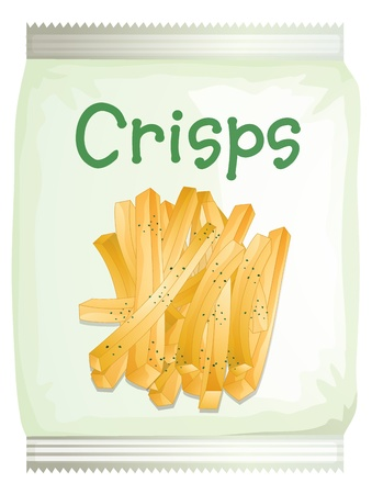 crisp: Illustration of a packet of frech fries on a white background