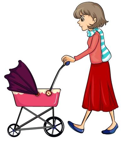 pushing: Illustratie van een vrouw en baby kinderwagen op een witte achtergrond Stock Illustratie