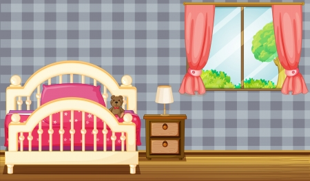 king master: Illustration of a bed and side table in a room Illustration