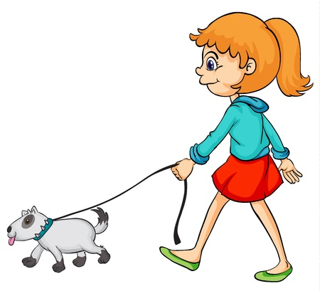 dog walking: Illustration of a smiling girl and dog on a white background Illustration