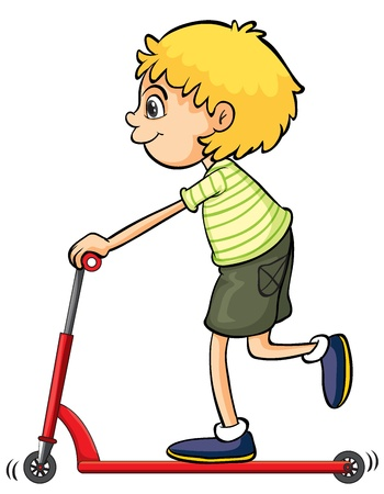 Illustration of a boy playing push bicycle on a white background Vector