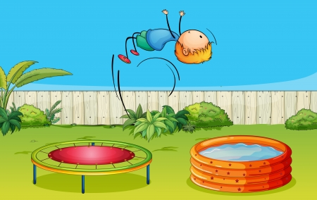 Illustration of a boy playing trampoline in a beautiful nature Vector