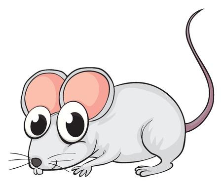 Illustratie van een muis op een witte achtergrond Vector Illustratie