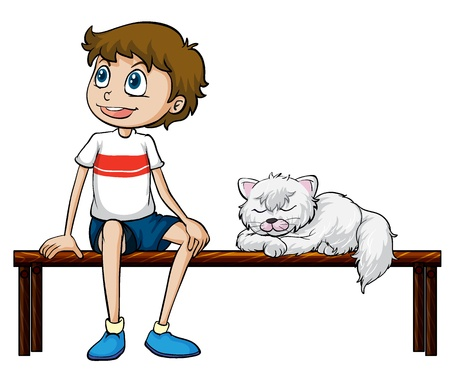 sitting at table: Illustration of a smiling boy and cat sitting on a bench on a white background Illustration