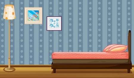 dormir habitaci�n: Ilustraci�n de una cama y una l�mpara en una habitaci�n Vectores