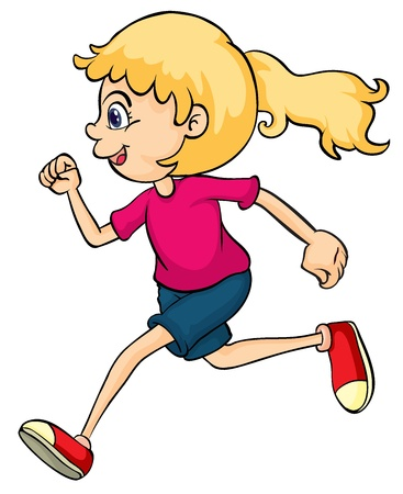 female child: Illustration of a running girl on a white background