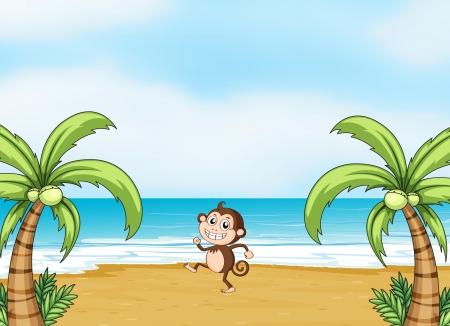 Illustration eines Affen tanzen auf einem Strand in einer wunderschönen Natur