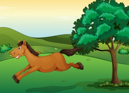 Illustration of a smiling horse in a beautiful nature Vector