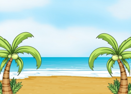 Illustration of a sea shore in a beautiful nature Vector