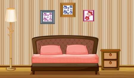 sleeping room: Illustration of a bed and a lamp in a room Illustration