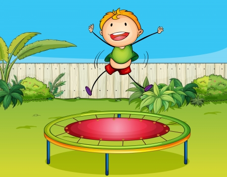 kids having fun: Illustration of a boy playing trampoline in a beautiful nature Illustration