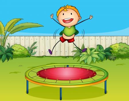 ni�os divirtiendose: Ilustraci�n de un trampol�n chico jugando en una hermosa naturaleza