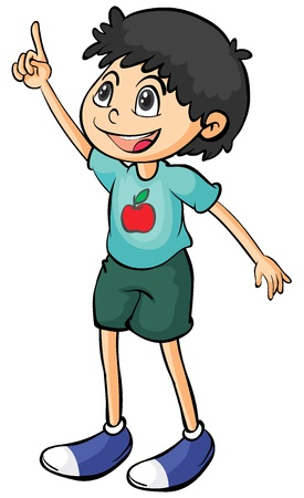 half of apple: Illustration of a smiling boy on a white background