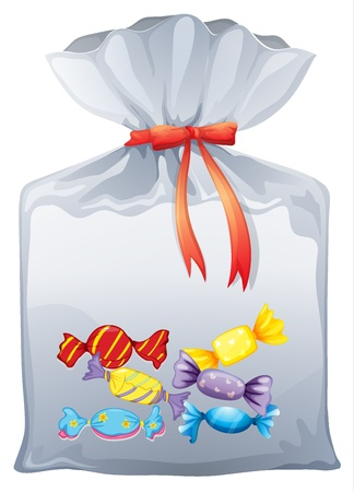sack cloth: Illustration of a pouch bag of sweets on a white background Illustration