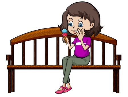eating ice cream: Illustration of a smiling girl eating ice cream on a white background Illustration