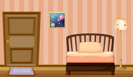 Illustration of a bed and a door in a room Vector