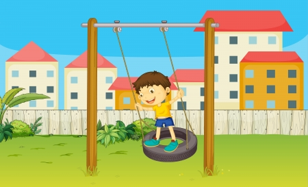 Illustration of boy playing swing in a beautiful nature Vector