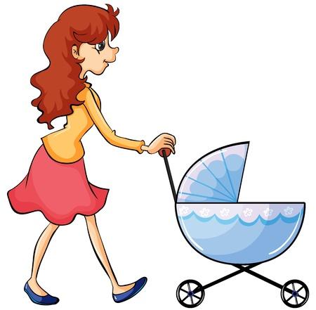 niño empujando: Ilustración de una mujer y un cochecito de bebé en un fondo blanco Vectores