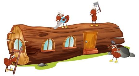 hormiga caricatura: Ilustración de hormigas y una casa de madera sobre un fondo blanco