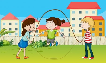 skipping: Illustration of kids playing rope in a beautiful nature