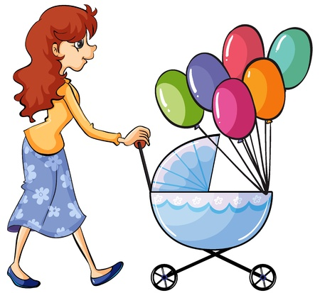 Illustration of a girl and baby pram on a white background Vector