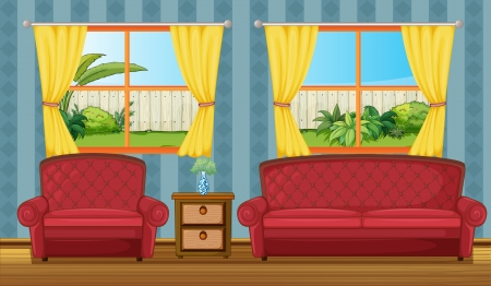 side table: Illustration of a sofaset and side table in a room Illustration