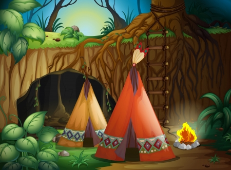 Illustration of a tent in nature in dark night Vector