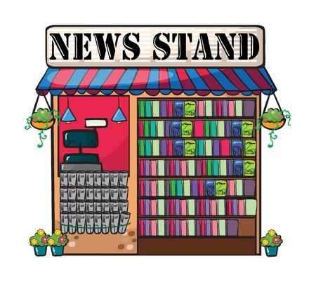 book shop: Detailed illustration of newspaper shop on wite