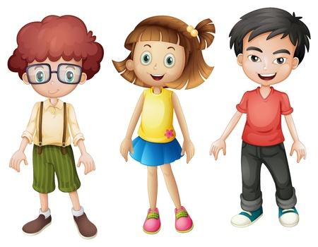 Illustratie van lachende kinderen op een witte achtergrond