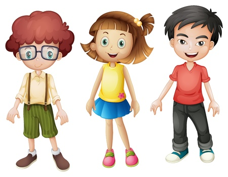 full pant: Illustration of smiling kids on a white background Illustration