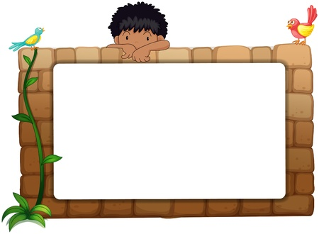 Illustration of a white board, a boy and birds on a white background Vector