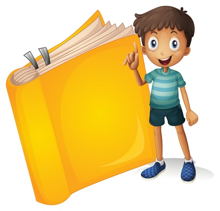 pant: Illustration of a smiling boy and a yellow book on a white background