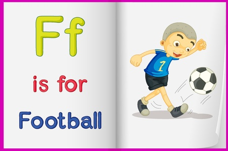 english language: Illustration of football in a book on a white background