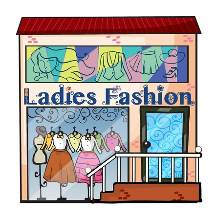 Illustration of a ladies fashion store on a white background Vector