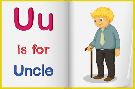 english language: Illustration of an uncle in a book on a white background