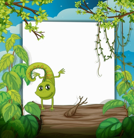 Illustration of a dancing chameleon and a white board in a beautiful nature Vector