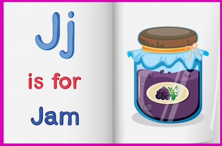 learning english: Illustration of a bottle of jam in a book on a white background