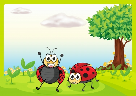 Illustration of smiling ladybugs in a beautiful nature Vector