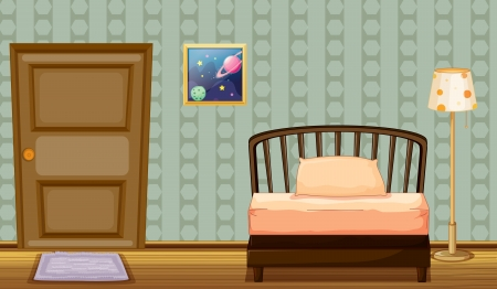 Illustration of a bed and a lamp in a room Stock Vector - 17161685