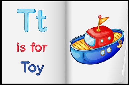 english language: Illustration of a toy in a book on a white background Illustration