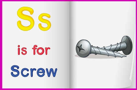 english language: Illustration of a screw in a book on a white background Illustration
