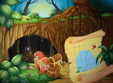 Ilustración de una cueva, un cofre del tesoro y un mapa en una hermosa naturaleza