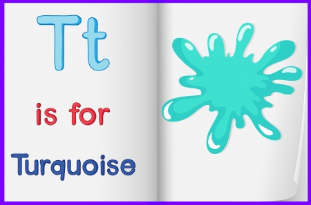 learn english: Illustration of a turquoise splash in a book on a white background