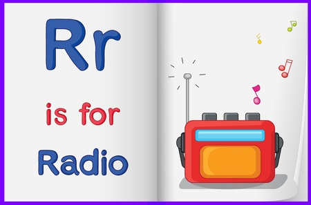 worksheet: Illustration of a radio in a book on a white background Illustration