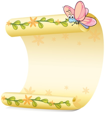 Illustration of a butterfly and a paper sheet on a white background Vector