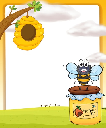 Illustration of honey bee and bottle in a beautiful nature Vector