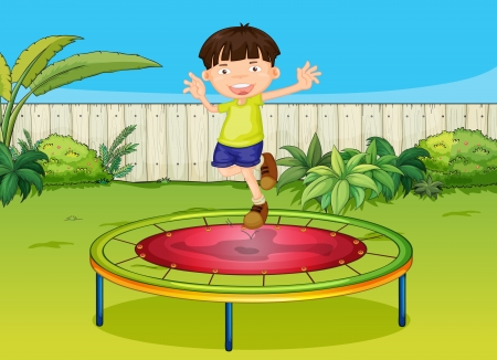 Illustration of a boy jumoing on a trampoline in a beautiful garden